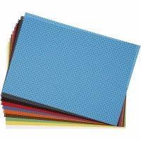 Cross Stitch Card, size 23x33 cm, 3x3 holes per. cm, assorted colours, 10 ass sheets/ 1 pack