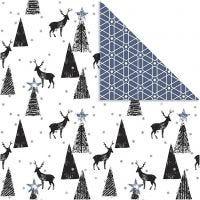 Design Paper, deer and pattern, 180 g, black, silver, white, 3 sheet/ 1 pack