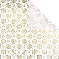 Design Paper, tiles and watercolour, 30,5x30,5 cm, 180 g, gold, white, 3 sheet/ 1 pack