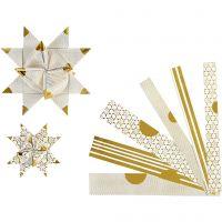 Paper Star Strips, L: 44+78 cm, D: 6,5+11,5 cm, W: 15+25 mm, gold, white, 48 strips/ 1 pack