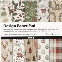 Design Paper Pad, 15,2x15,2 cm, 120 g, brown, red, 50 sheet/ 1 pack