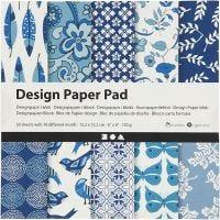 Design Paper Pad, 15,2x15,2 cm, 120 g, blue, 50 sheet/ 1 pack