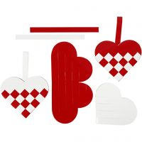 Woven Hearts, size 13,5x12,5 cm, red, white, 8 set/ 1 pack