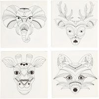 Stretched Canvas With Print, animals, size 20x20 cm, 280 g, white, 4 pc/ 1 pack