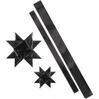 Star Strips, L: 86+100 cm, D: 11,5+18,5 cm, W: 25+40 mm, black, 16 strips/ 1 pack