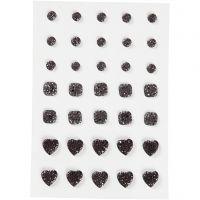 Rhinestones, round, square, heart, size 6+8+10 mm, black, 35 pc/ 1 pack