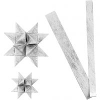 Paper star strips, L: 44+78 cm, D: 6,5+11,5 cm, W: 15+25 mm, silver, 32 strips/ 1 pack