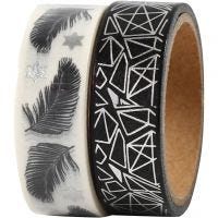 Washi Tape, feather and pattern -foil, W: 15 mm, 2x4 m/ 1 pack