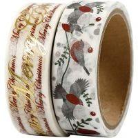 Washi Tape, words and birds - foil, W: 15 mm, 2x4 m/ 1 pack
