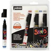Skrib Paint Marker, line 4 mm, black, blue, red, yellow, 4 pc/ 1 pack