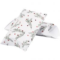 Pillow box, spruce branch with christmas balls, size 23,9x15x6 cm, 300 g, green, metallic red, white, 3 pc/ 1 pack
