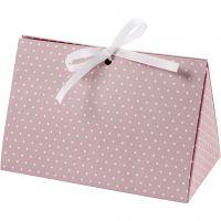 Folding gift box, dots, size 15x7x8 cm, 250 g, rose, white, 3 pc/ 1 pack