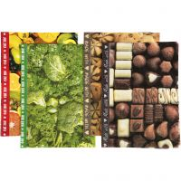 Decoupage Paper, 25x35 cm, 17 g, brown, green, yellow, 8 ass sheets/ 1 pack