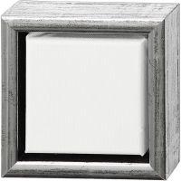 ArtistLine Canvas with frame, depth 3 cm, size 14x14 cm, antique silver, white, 1 pc