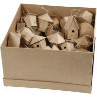 Mini Bird Houses, H: 7 cm, 6x10 pc/ 1 pack