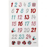 Glitter Stickers, advent numbers, 10x16 cm, 1 sheet