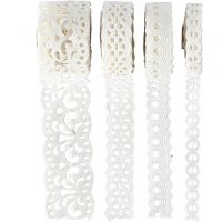 Paper Lace Borders, W: 8-23 mm, white, 4x2 m/ 1 pack