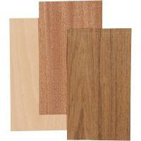 Wood Veneer, 12x22 cm, thickness 0,75 mm, 3 sheet/ 1 pack