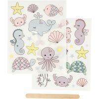 Rub-on Sticker, ocean, 12,2x15,3 cm, 1 pack