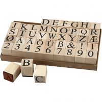 Wooden Stamps Set, H: 30 mm, size 20x20 mm, 45 pc/ 1 pack