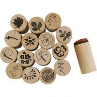 Deco Art Stamps, flower and leaf, H: 26 mm, D: 20 mm, 15 pc/ 1 pack