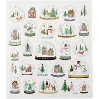 Stickers, snow globes, 15x16,5 cm, 1 sheet