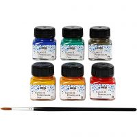 Glass & Porcelain paint, assorted colours, 6x20 ml/ 1 pack