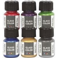 Glass Color Metal, assorted colours, 6x30 ml/ 1 pack