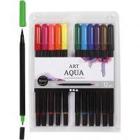 Watercolor marker, line 2+4-8 mm, standard colours, 12 pc/ 1 pack
