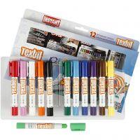 Playcolor Textile Marker, L: 14 cm, assorted colours, 12 pc/ 1 pack, 5 g