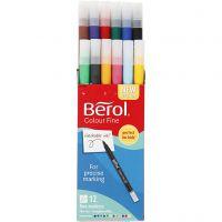 Berol Colourfine, D: 10 mm, line 0,3-0,7 mm, assorted colours, 12 pc/ 1 pack