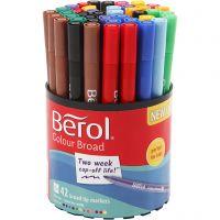 Berol Colourfine, D: 10 mm, line 0,3-0,7 mm, assorted colours, 42 pc/ 1 tub