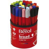 Berol Marker, D: 10 mm, line 1-1,7 mm, assorted colours, 42 pc/ 1 tub