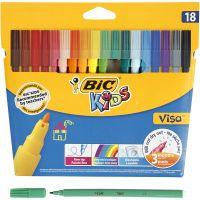 Visa Fine Marker, line 1,6 mm, assorted colours, 18 pc/ 1 pack