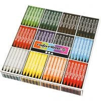 Colortime Wax Crayons, L: 10 cm, thickness 11 mm, assorted colours, 12x24 pc/ 1 pack