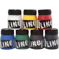 Block Printing Ink, assorted colours, 7x250 ml/ 1 pack