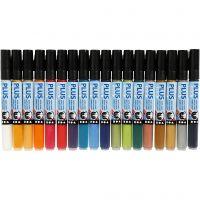 Plus Color Marker, L: 14,5 cm, line 1-2 mm, assorted colours, 18 pc/ 1 pack, 5,5 ml