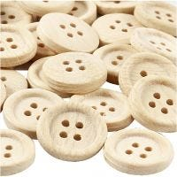 Wooden Buttons, D: 23 mm, 4 holes, 30 pc/ 1 pack