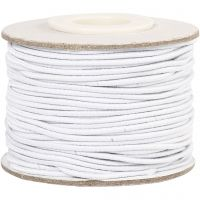 Elastic Beading Cord, thickness 1 mm, white, 25 m/ 1 roll