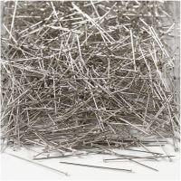 Straight Pins, L: 30 mm, thickness 0,55 mm, silver, 500 g/ 1 pack