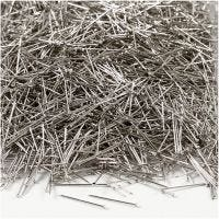Straight Pins, L: 18 mm, thickness 0,6 mm, silver, 500 g/ 1 pack