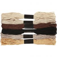 Embroidery Floss, thickness 1 mm, natural, 6 bundle/ 1 pack