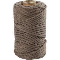 Macramé cord, L: 55 m, D: 4 mm, light brown, 330 g/ 1 roll