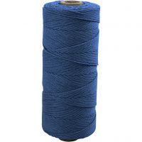 Cotton Twine, L: 315 m, thickness 1 mm, Thin quality 12/12, blue, 220 g/ 1 ball