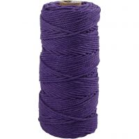 Cotton Twine, L: 100 m, thickness 2 mm, Thick quality 12/36, violet, 225 g/ 1 ball