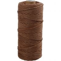 Cotton Twine, L: 100 m, thickness 2 mm, Thick quality 12/36, brown, 225 g/ 1 ball