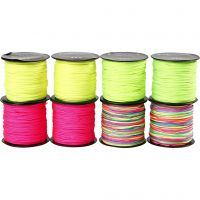 Polyester Cord, thickness 1 mm, neon green, neon pink, neon yellow, neonmix, 8x28 m/ 1 pack