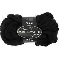 Chunky yarn of acrylic/wool, L: 15 m, size mega , black, 300 g/ 1 ball