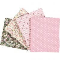 Patchwork Fabric, size 45x55 cm, 100 g, rose, 4 pc/ 1 pack