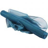 Organza Fabric, W: 50 cm, glossy, turquoise, 10 m/ 1 roll
